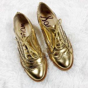 SAM EDELMAN Gold Oxfords Size 5.5 M